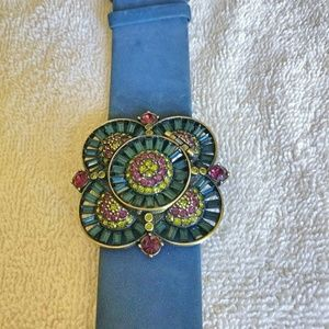 Heidi Daus Crystal Watch with Blue Suede Band